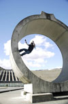 Hitting a concrete full pipe at Benmore Dam in New Zealand